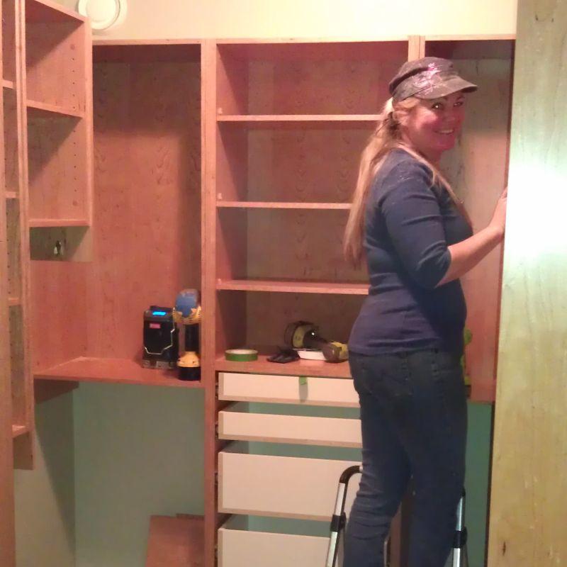 Cheryl installing Cherry Closet.
